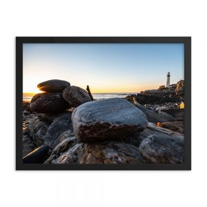 Sunrise at Portland Head Light, Framed Poster, by Garrick Hoffman Photography